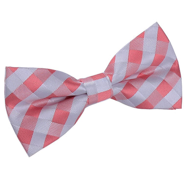 Gingham Check Coral Bow Tie