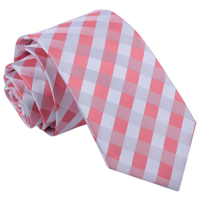 Gingham Check Coral Slim Tie