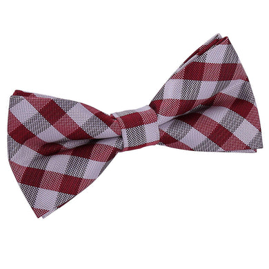 Gingham Check Dark Red Bow Tie