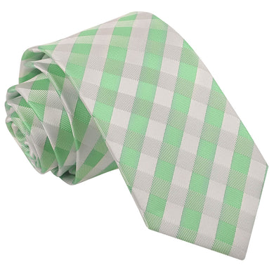 Gingham Check Mint Green Slim Tie