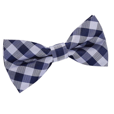 Gingham Check Navy Blue Bow Tie