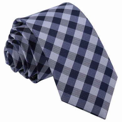 Gingham Check Navy Blue Slim Tie