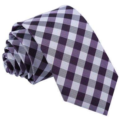 Gingham Check Purple Slim Tie