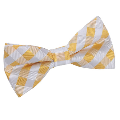 Gingham Check Sunflower Gold Bow Tie