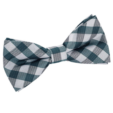 Gingham Check Turquoise Bow Tie