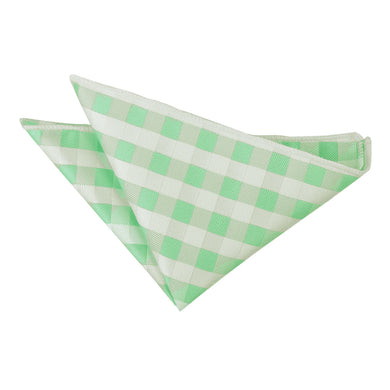 Gingham Check Mint Green Handkerchief / Pocket Square