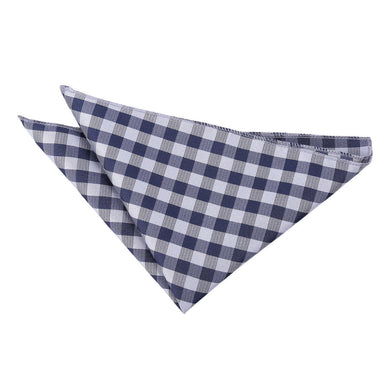 Gingham Check Navy Blue Handkerchief / Pocket Square