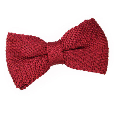 Knitted Burgundy Bow Tie