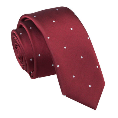 Pin Dot Burgundy Skinny Tie