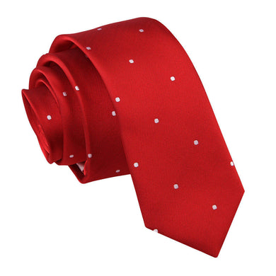 Pin Dot Dark Red Skinny Tie