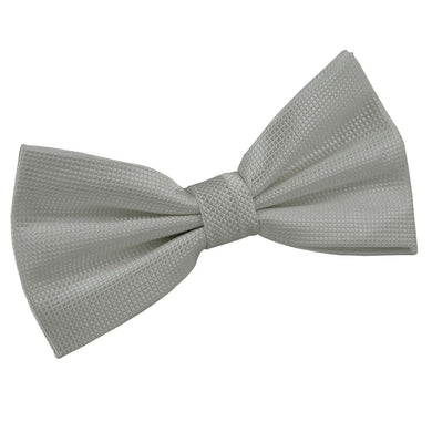 Solid Check Silver Bow Tie