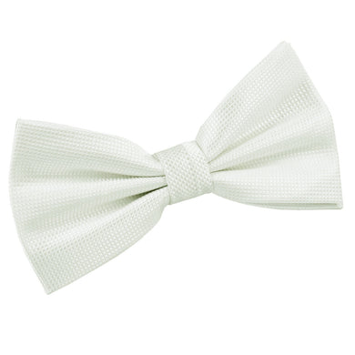Solid Check White Bow Tie