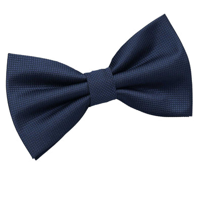 Solid Check Navy Blue Bow Tie