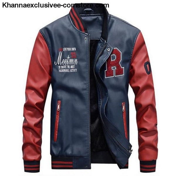 Afs Jeep Embroidery Baseball Fleece Pilot Leather Letter Printed Model Jacket Till Size 4Xl - Blue / M - Afs Jeep Embroidery Baseball Fleece