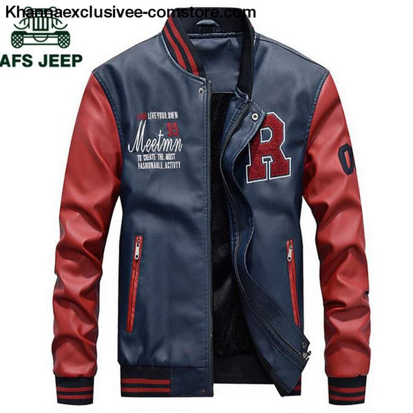 Afs Jeep Embroidery Baseball Fleece Pilot Leather Letter Printed Model Jacket Till Size 4Xl - Afs Jeep Embroidery Baseball Fleece Pilot