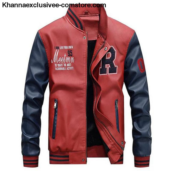 Afs Jeep Embroidery Baseball Fleece Pilot Leather Letter Printed Model Jacket Till Size 4Xl - Red / M - Afs Jeep Embroidery Baseball Fleece