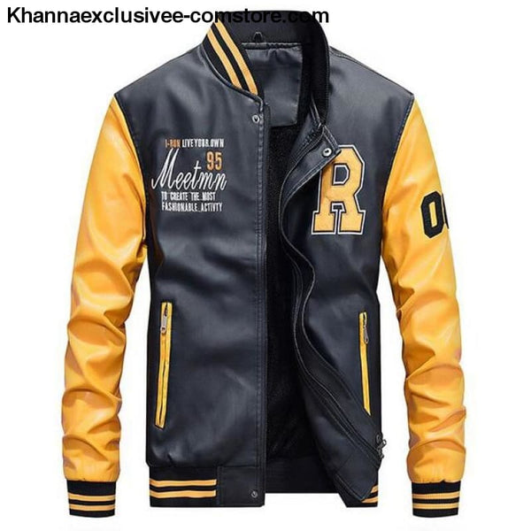 Afs Jeep Embroidery Baseball Fleece Pilot Leather Letter Printed Model Jacket Till Size 4Xl - Yellow / M - Afs Jeep Embroidery Baseball