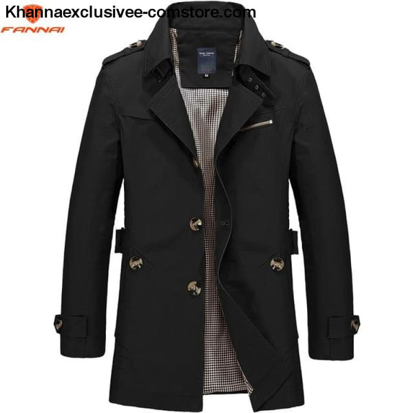 All Seasons Casual Mens Long Military Style Coat Jacket Windbreaker trench Coat - black 1306 / M - All Season Casual Mens Long Military