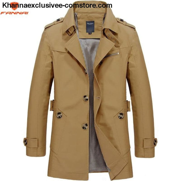 All Seasons Casual Mens Long Military Style Coat Jacket Windbreaker trench Coat - dark khaki 1306 / M - All Season Casual Mens Long Military