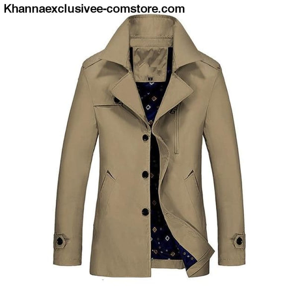 All Seasons Casual Mens Long Military Style Coat Jacket Windbreaker trench Coat - Khaki 785 / M - All Season Casual Mens Long Military Style