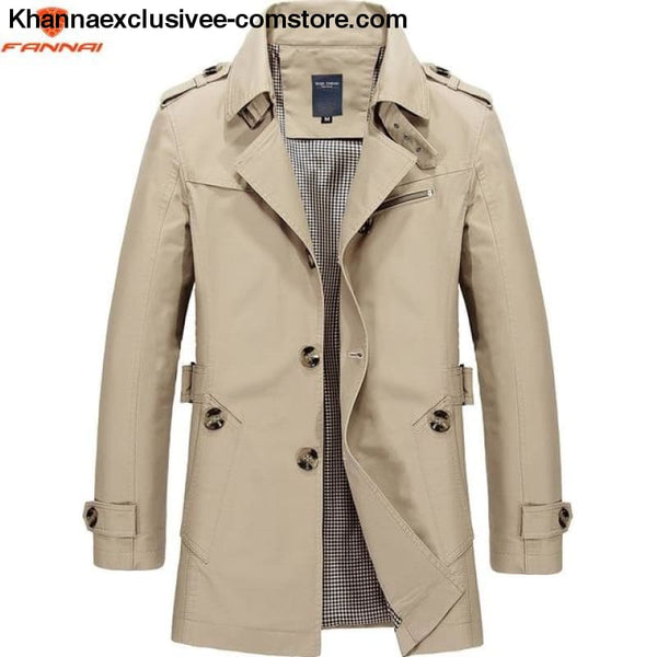 All Seasons Casual Mens Long Military Style Coat Jacket Windbreaker trench Coat - Light card 1306 / M - All Season Casual Mens Long Military