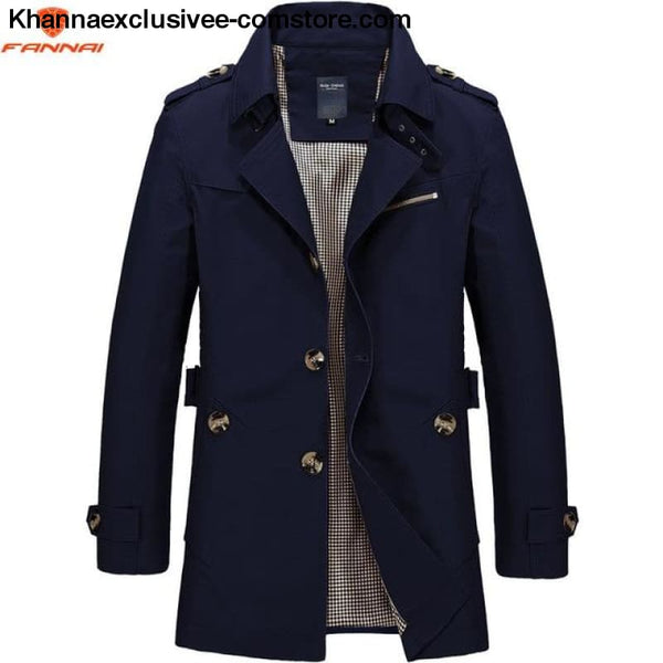 All Seasons Casual Mens Long Military Style Coat Jacket Windbreaker trench Coat - Navy blue 1306 / M - All Season Casual Mens Long Military
