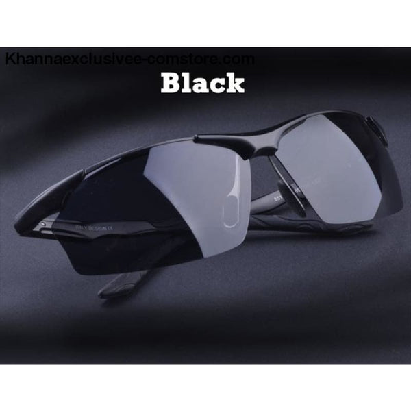 Aluminum magnesium alloy mens polarized sunglasses Fashionable driving Leisure Goggles - Black - Aluminum magnesium alloy mens polarized