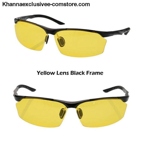 Aluminum magnesium alloy mens polarized sunglasses Fashionable driving Leisure Goggles - Black Yellow - Aluminum magnesium alloy mens