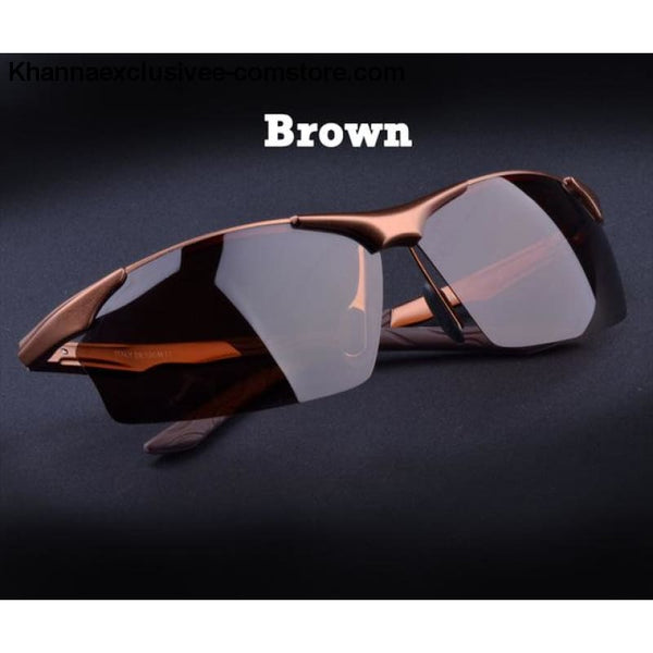Aluminum magnesium alloy mens polarized sunglasses Fashionable driving Leisure Goggles - Brown - Aluminum magnesium alloy mens polarized
