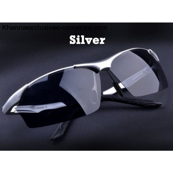 Aluminum magnesium alloy mens polarized sunglasses Fashionable driving Leisure Goggles - Silver - Aluminum magnesium alloy mens polarized