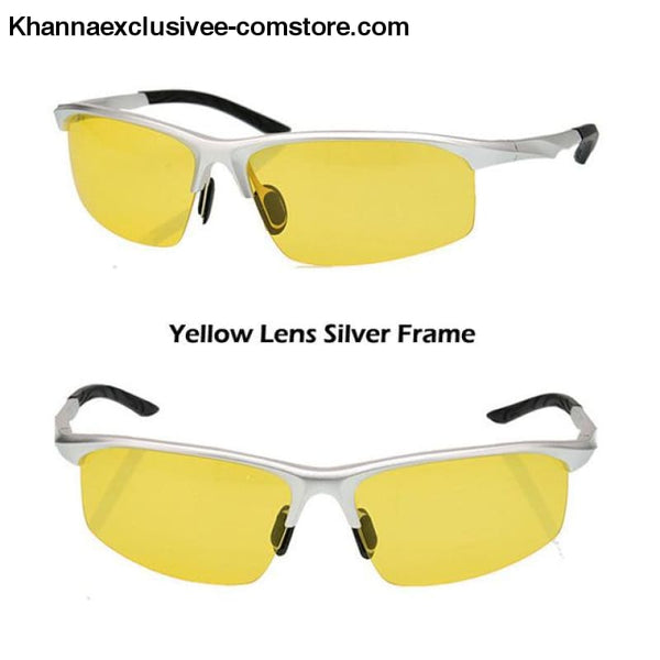 Aluminum magnesium alloy mens polarized sunglasses Fashionable driving Leisure Goggles - Silver Yellow - Aluminum magnesium alloy mens