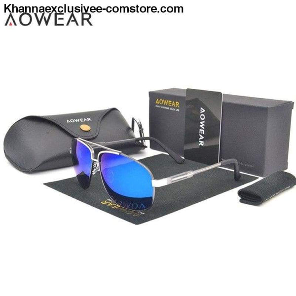 AOWEAR Luxury Brand Fashion High Quality Mens Polarized Aviation Driving Sun Glasses - C2 Silver Blue Lens - AOWEAR Luxury Brand Fashion