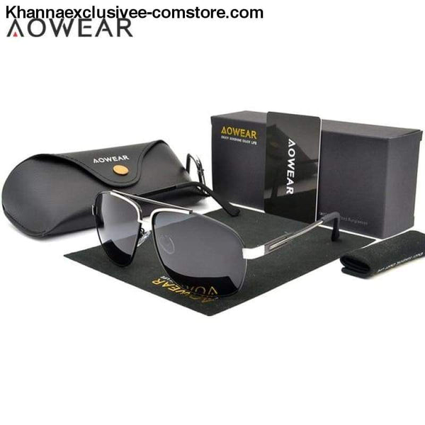 AOWEAR Luxury Brand Fashion High Quality Mens Polarized Aviation Driving Sun Glasses - C3 Silver Black Lens - AOWEAR Luxury Brand Fashion