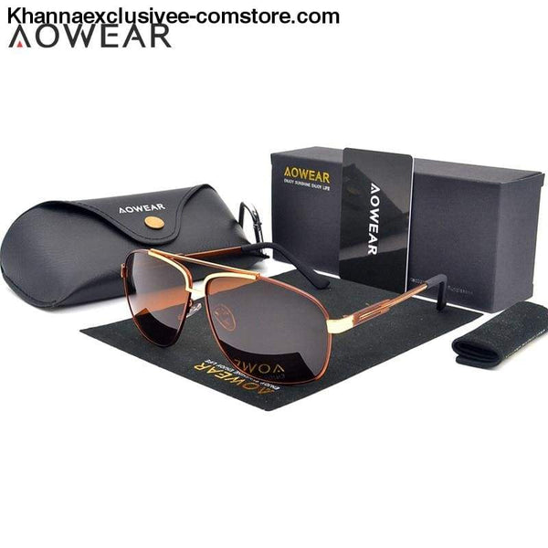 AOWEAR Luxury Brand Fashion High Quality Mens Polarized Aviation Driving Sun Glasses - AOWEAR Luxury Brand Fashion High Quality Mens