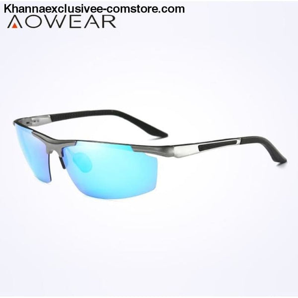 AOWEAR Luxury Brand Mens Polarized Sport Night Vision Yellow Driving Mirror Sun Glasses - C3 Silver Blue - AOWEAR Luxury Aluminium Magnesium
