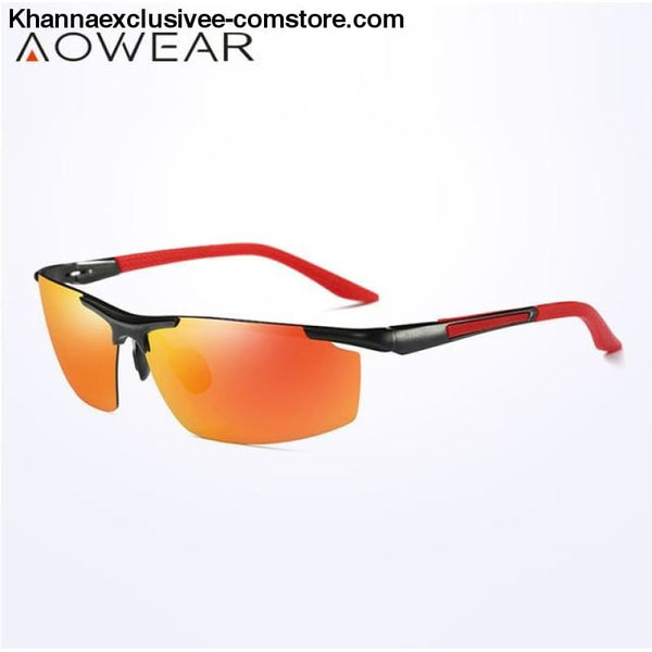 AOWEAR Luxury Brand Mens Polarized Sport Night Vision Yellow Driving Mirror Sun Glasses - C6 Red Orange - AOWEAR Luxury Aluminium Magnesium