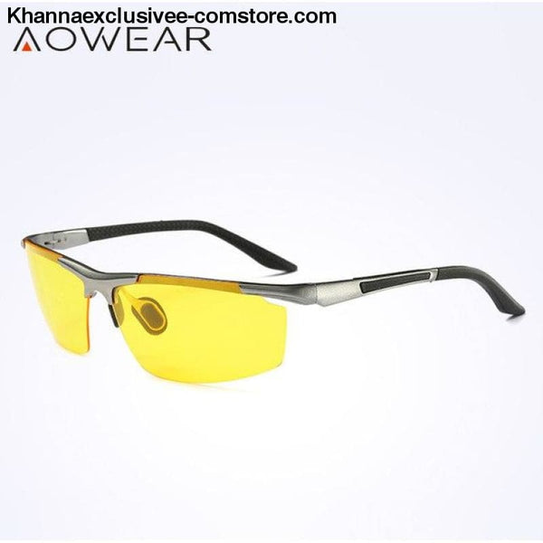 AOWEAR Luxury Brand Mens Polarized Sport Night Vision Yellow Driving Mirror Sun Glasses - Silver Night Vision - AOWEAR Luxury Aluminium
