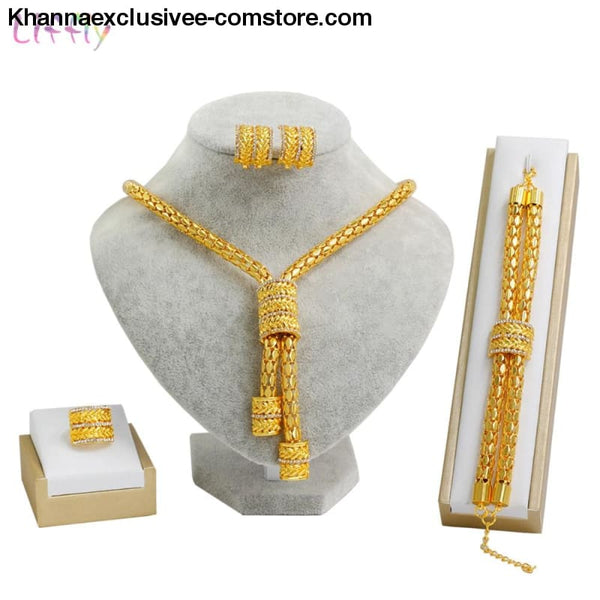 Bridal African Gold Plated 18K Jewelry Set Necklace Earrings Ring Zircon Dubai Gold Jewelry Sets - Bridal African Jewelry Set Fashion Gold