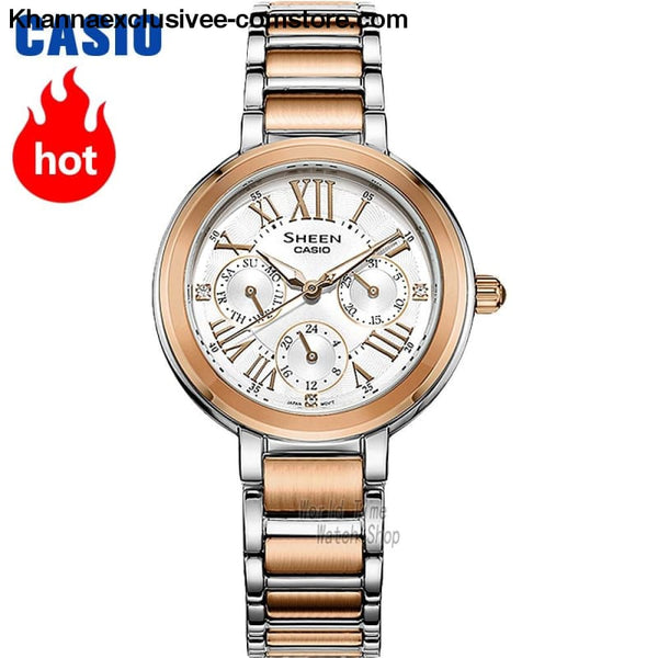 Casio Sheen Womens quartz fashionable Leather belt or steel strap with pointer wrist watch - Casio watch Sheen Womens quartz watch Three-eye
