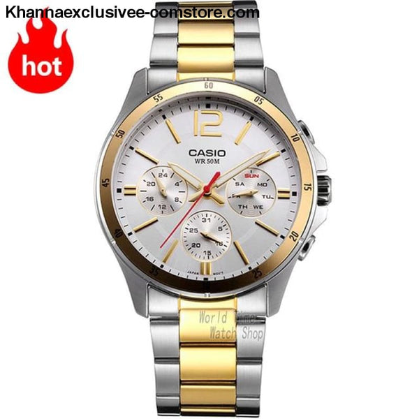 Casio Watch Analogue Mens Quartz Sports Fashionable Business Waterproof Watch Mtp-1374 - Mtp1374Sg7A-A - Casio Watch Analogue Mens Quartz