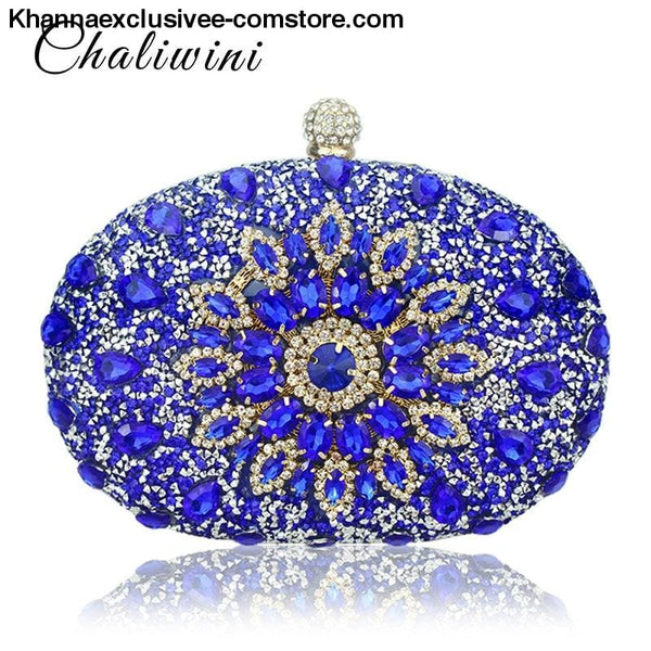 Designer Wedding Diamond Floral Womans Blue Crystal Handbag Clutch cell phone pocket Wallet Purse - Designer Wedding Diamond Floral Womans