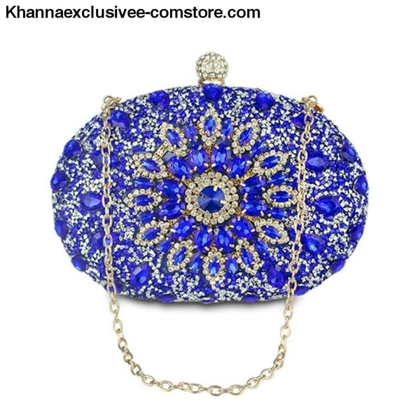 Designer Wedding Diamond Floral Womans Blue Crystal Handbag Clutch cell phone pocket Wallet Purse - blue - Designer Wedding Diamond Floral