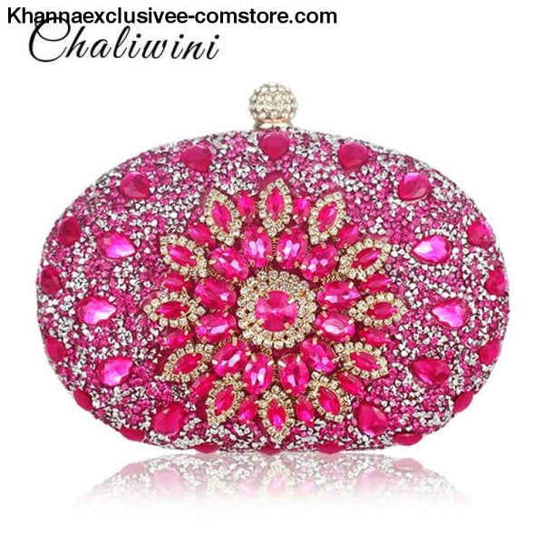 Designer Wedding Diamond Floral Womans Blue Crystal Handbag Clutch cell phone pocket Wallet Purse - pink - Designer Wedding Diamond Floral