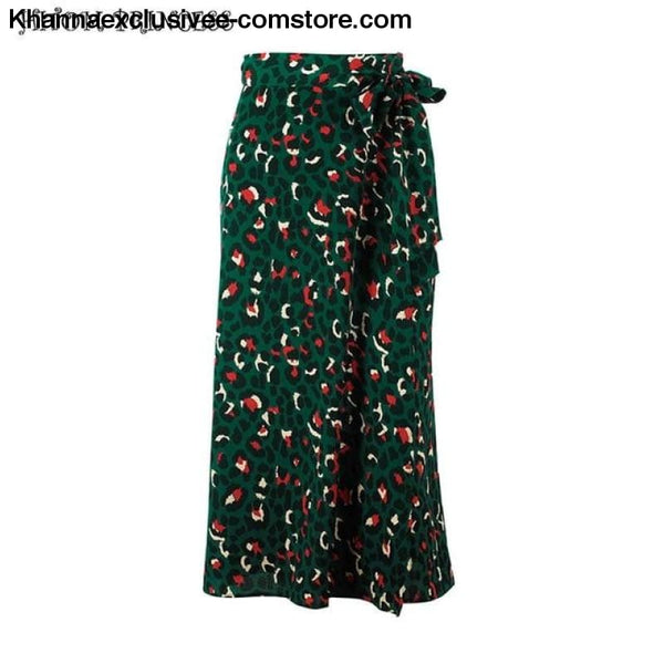 Fashionable Womens 2 Piece Street wear Lip Printed T-Shirt and Leopard Long High Waist Skirt Set - Skirt / L - New Womens 2 Pieces Set Lip