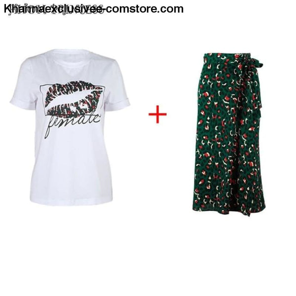 Fashionable Womens 2 Piece Street wear Lip Printed T-Shirt and Leopard Long High Waist Skirt Set - Set / L - New Womens 2 Pieces Set Lip