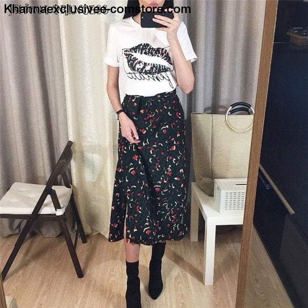 Fashionable Womens 2 Piece Street wear Lip Printed T-Shirt and Leopard Long High Waist Skirt Set - New Womens 2 Pieces Set Lip Print T Shirt