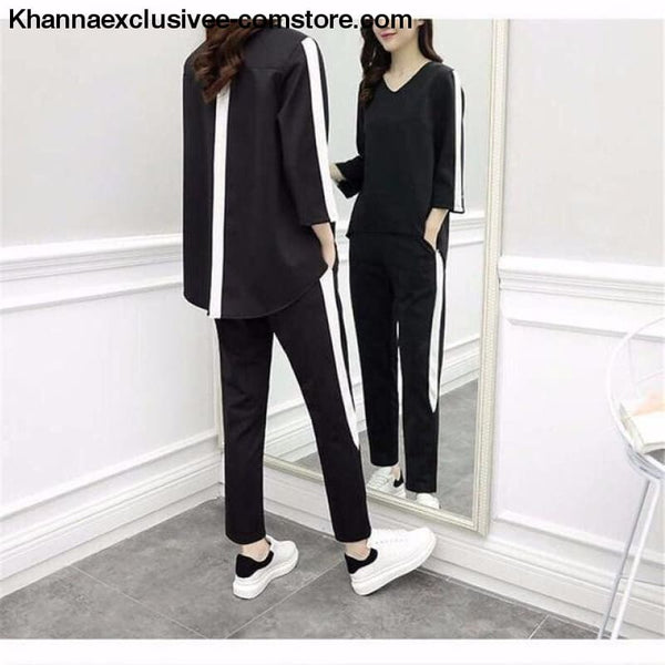 Fashionable Womens Outfit Tracksuit Sportswear Top and Pants Ruffles Striped Set - as picture 2 / L - Fashionable Womens Outfit Tracksuit