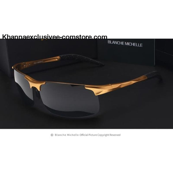 High Quality Ultra-light Sports Polarized Mens UV 400 Rectangle Gold Driving Sun Glasses Goggles - gold black - High Quality Ultra-light
