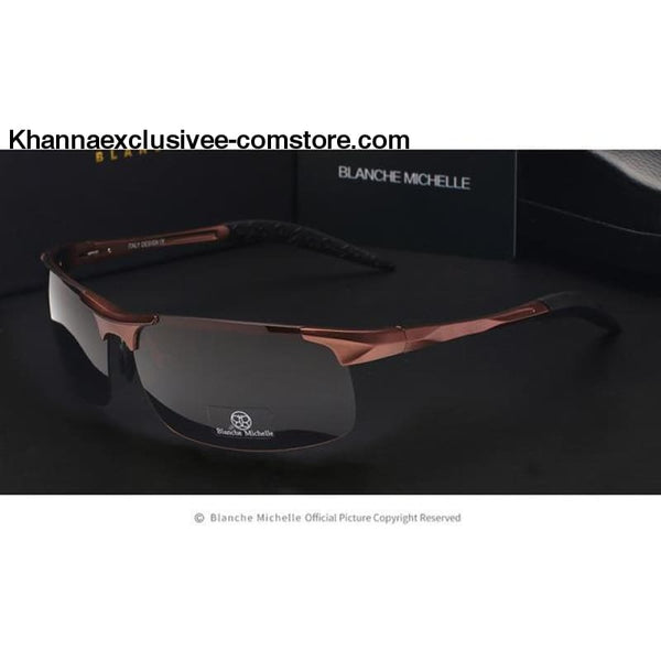 High Quality Ultra-light Sports Polarized Mens UV 400 Rectangle Gold Driving Sun Glasses Goggles - brown black - High Quality Ultra-light