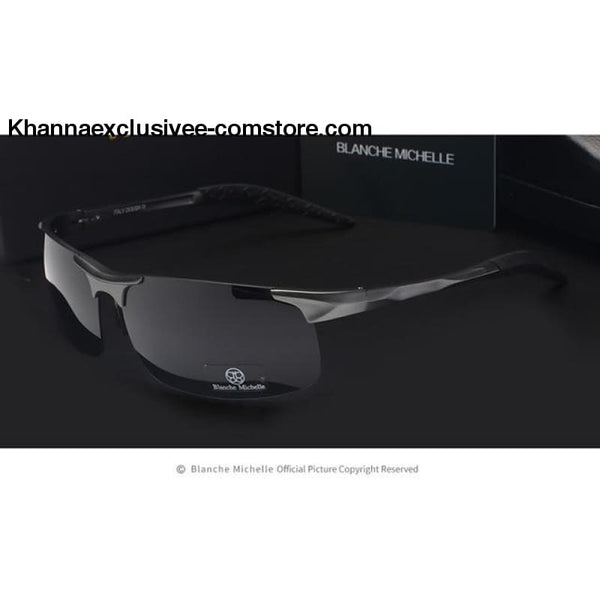 High Quality Ultra-light Sports Polarized Mens UV 400 Rectangle Gold Driving Sun Glasses Goggles - gray black - High Quality Ultra-light